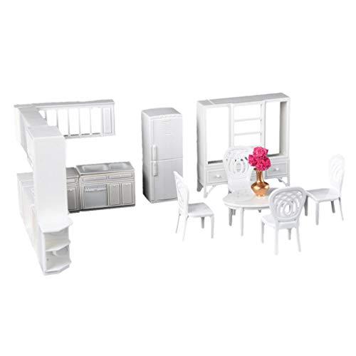 IPOTCH Meubles Cuisine Maison de Poupée Set de 9pcs Table Chaises Cabinet Modèles Enfants Miniature Jouets DIY