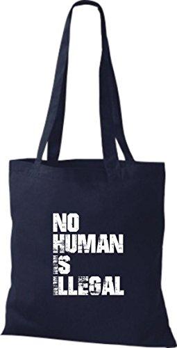 Shirtstown stoffbeutell no human is illegal, les réfugiés, bleiberecht plusieurs couleurs Bleu - Bleu marine
