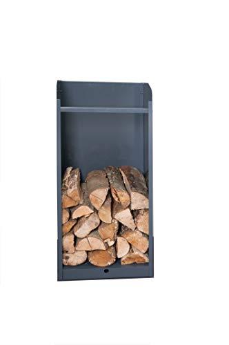 bachmayer Holzaufbewahrung + Schublade Höhe 90 Breite 40cm, Kasten für Feuerholz mit Schublade, Metall anthrazit, Brennholz, Kamin, Holz, Kachelofen, Lagerung