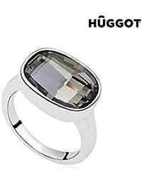 Bague Plaqué Rhodium Night Hûggot Fabriquée avec des Cristaux Swarovski® - 18