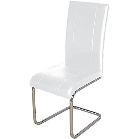 Studio Decor Kunsil - Juego 4 sillas tapizadas en polipiel, 100 x 42 x 44 cm, color blanco