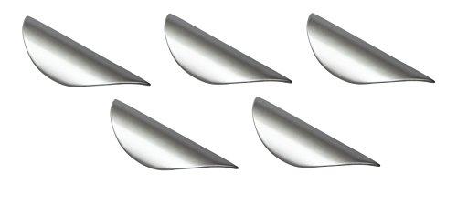 Gedotec Moderner Profilgriff Metall Griffleiste silber Ziehgriff gebogen Schubladengriff für Schranktüren - ZENA   Stahl Chrom matt lackiert   Möbelgriff BA 32 mm   5 Stück - Türgriffe mit Schrauben
