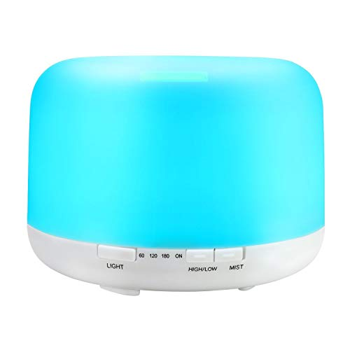 Wlehome Aroma Diffuser, Ätherisches Öl Diffuser Ultrasonic Cool Mist, Office Purifying Air, Ultrasonic Essential Oil Diffuser, für Zuhause, Schlafzimmer, Yoga, Kid es Room,White