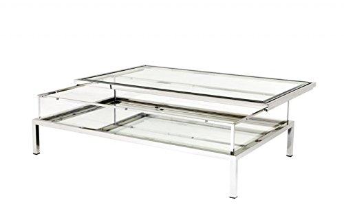 Casa Padrino Luxus Art Deco Designer Couchtisch 140 x 85 x H. 41 cm - Wohnzimmer Salon Tisch - Designer Tisch Möbel