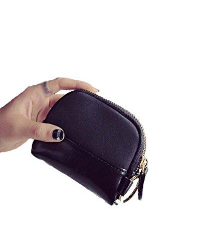 Zeafin Damen Brieftasche, Geldbeutel aus Leder Multifunktion mit Reißverschluss Knopf Große Kapazität Portemonnaie Geldbörse Mappe Geldtasche Wallet Schwarz Schwarz