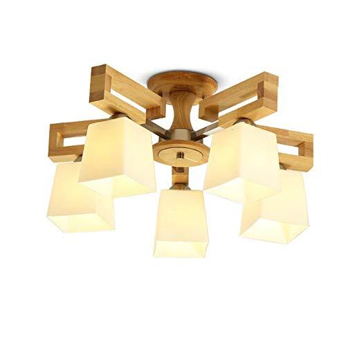 ZXL Mount LED Massivholz chinesische Deckenleuchte Wohnzimmer Lichter Schlafzimmer Lichter Lampen Lampe enthalten (Farbe: 5W-Five Heads) -