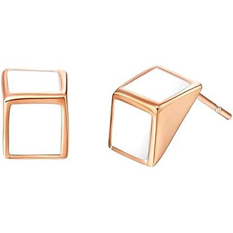 KnSam Donne Placcato Oro Rosa Orecchini a Perno Forato Triangolo Bianco Olio Semplice Sottile [Novità Orecchini]
