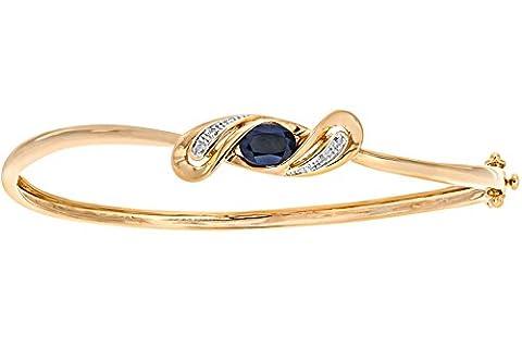 Naava Women's 9 ct Yellow Gold Diamond and Sapphire Crossover Bangle