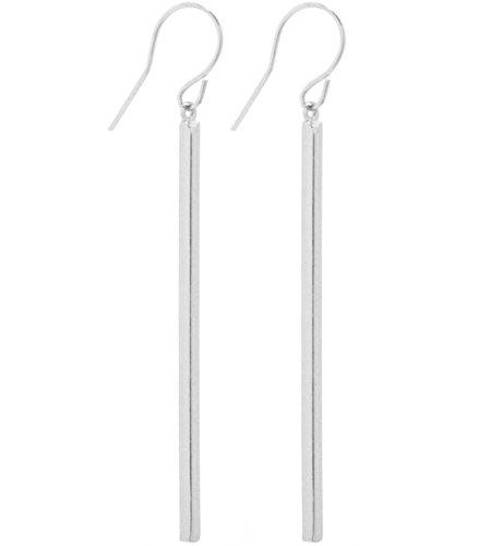 2LIVEfor Ohrringe Stab Silber und Gold Lang hängend Zylinder eckig Ohrringe Silber hängend Elegant Stab Ohrringe modern schlicht geometrisch Ohrhänger quadratisch (Silber)