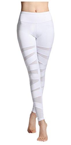 Harem Yoga Damen Yoga Hose Aktive Sportliche Hose mit Mesh White