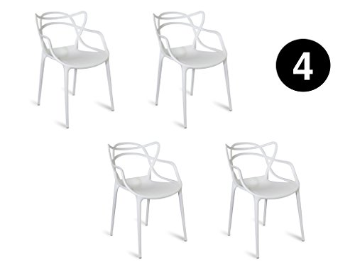 IBH DESIGN Set 4Stühle Miami-Weiß-Inspiriert Starck Masters - Outdoor Chaise Lounge-set