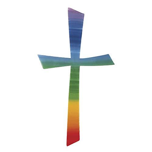 Rayher 31499000 Wachs-Motiv Kreuz Regenbogen, 10,5x5,5cm, SB-Btl 1Stüc