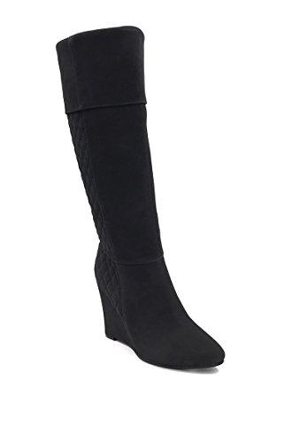 CHIC NANA . Chaussure femme botte compensée en effet daim matelassé, dotée d'un bout pointu. Noir