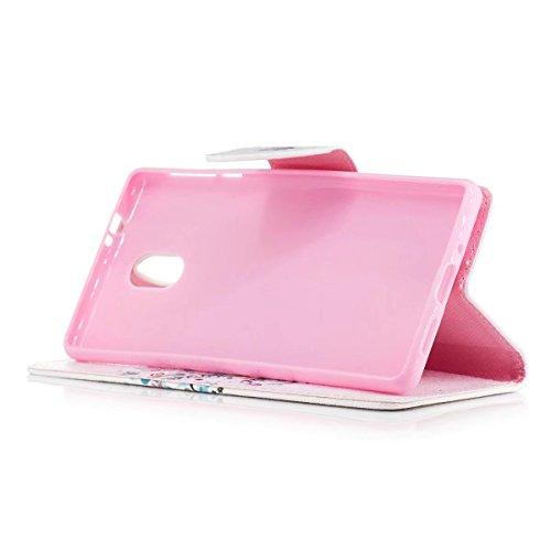 LEMORRY Nokia 3 Hülle Tasche Ledertasche Flip Beutel Haut Slim Bumper Schutz Magnetisch Soft SchutzHülle Weich Silikon Cover Handhülle Schale für Nokia 3, Kunstbaum - 3