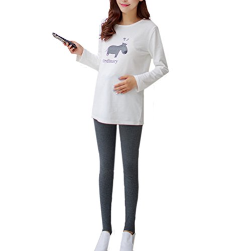 Laixing Fashion Adjustable Women Femme enceinte Maternity Slimming Pants Cotton Leggings Dark Gray