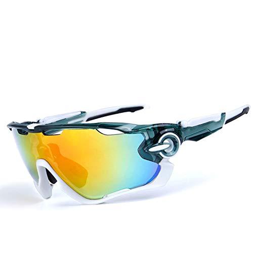 MaxAst Sonnenbrille Motorrad Brille Verspiegelt Schutzbrille Grün Weiß Weiß Weiß