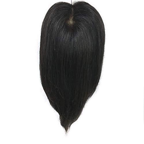 ERSD Frauen handgewebte Nadel Perücke Lange Glatte Haare Clip in Echthaar Extensions Decken weißes Haar Rollenspiel Perücke Cap (Farbe : Natural Black, Size : 25cm)