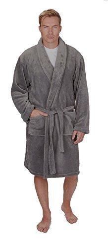 Hommes Uni Super Doux Polaire Robe De Chambre / Peignoir ~ M pour 5XL ~ jusqu'à 162.6cm - Synthétique, Gris, 100% polyester 100% polyester, Homme, Large