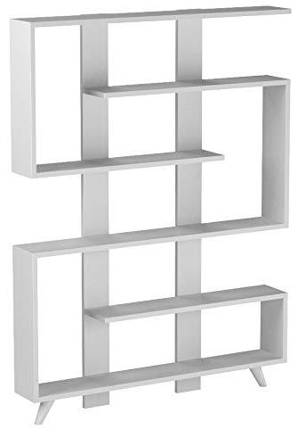 Alphamoebel Bücherregal, Regal, Wandregal, Standregal, Aktenregal, Aufbewahrungsregal, Regal für Wohnzimmer I Weiß I 120 x 162 x 20 cm I Rain 3528