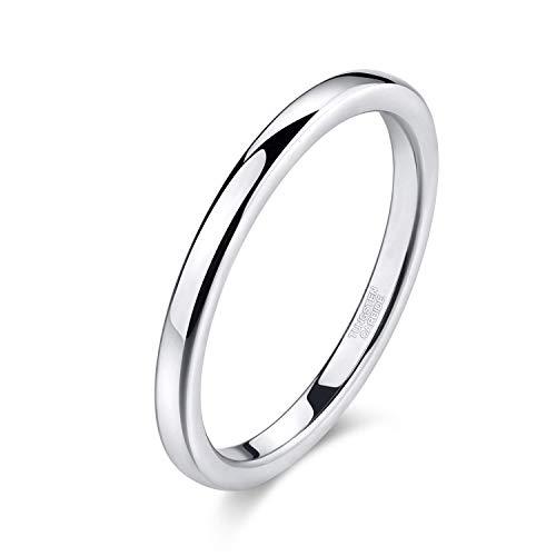 Titaniumcentral Silber Damen Ringe aus Wolframcarbid Hochzeit Ehering Verlobungsringe 2mm - Ring Männer Hochzeit Silber