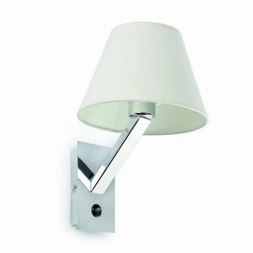 MOMA es una luminaria aplique de aspecto moderno fabricada en acero y pantalla textil. El tipo de bombilla es 1L E27 60W, que no está incluida.