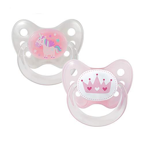 Dentistar® Silikon Schnuller 2er Set inkl. 2 Schutzkappen - Nuckel für Babys Größe 1 von Geburt an, 0-6 Monate – Einhorn & Krone