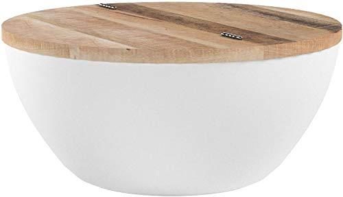 Riess Ambiente Couchtisch Industrial Storage aus Massivholz Bohlen weiß Massivholz mit klappbarer Tischplatte Aufbewahrung