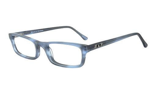 Edison & King Lesebrille Mr. & Mrs. King aus Acetat, mit Premium Gläsern entspiegelt und gehärtet (blau, 3,00 dpt)