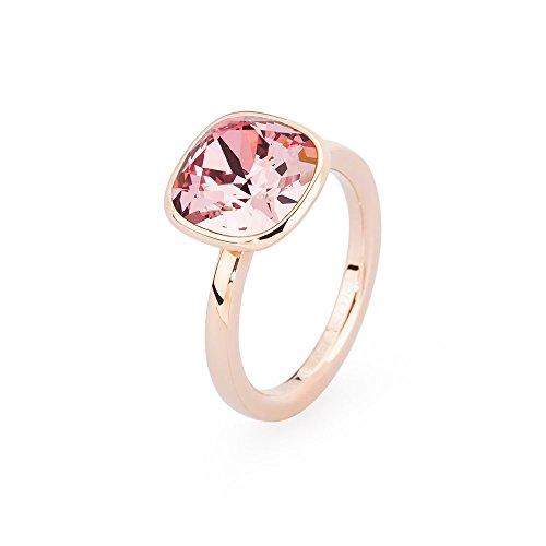 Brosway anello donna in acciaio/pvd rosa con cristallo rosa, linea tring color edition, taglia 18, 5 grammi