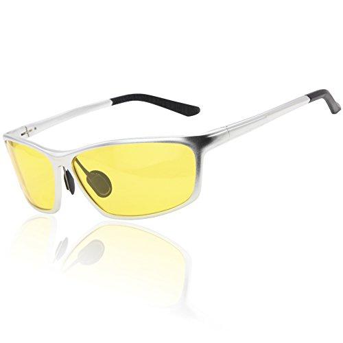 Duco Nachtfahrbrillen für Scheinwerfer polarisierte Fahren Brille 2179 (Silber)