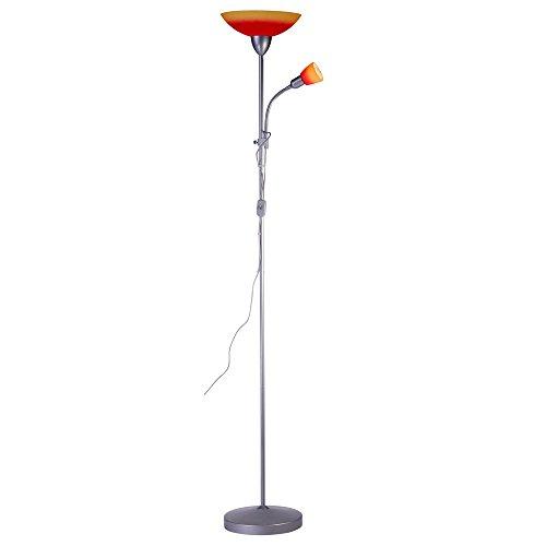 Plafonnier Globo - En métal - Argenté et orange rouge - Interrupteur - Diamètre: 28cm - Hauteur: 1,78m - 1 x E14, 40W, 230V - 1 x E27, 60W, 230V - 58466