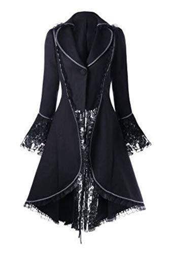 Zamtapary Chaquetas para Mujer De Esmoquin De Halloween Corsé Steampunk Gótico Victoriano para Mujer Negro S