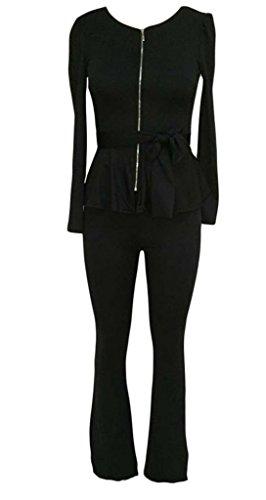 Bigood Combinaison Uniforme Femme Tops Pantalon Ceinture Noir
