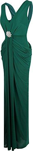 Angel fashions Damen V-Ausschnitt Gerafft Kristall Bleistift Abendkleid dunkelgrun