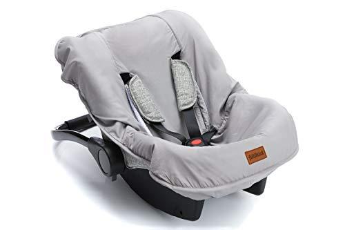 Fillikid Sitzbezug für Autositz Babyschale Autositz I Universal Sommerbezug & Schonbezug 100{feee558921b72559e1c012f8d37694731926ee5d84e06b084a2b48f6b4a7b3fb} Baumwolle I Bezug abnehmbar & waschbar, Design:grau