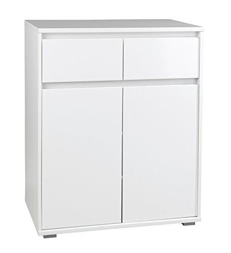 Kommode, Weiß, Hochglanz, 2 Türen, 2 Schubkästen, 80x103x48 cm