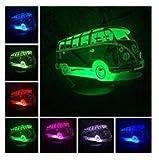 3D Bus - auto Optische Illusions-Lampen, Tolle 7 Farbwechsel Acryl berühren Tabelle Schreibtisch-Nachtlicht mit USB-Kabel für Kinder Schlafzimmer Geburtstagsgeschenke Geschenk
