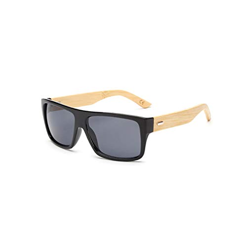 Vikimen Sports Eyewear, Original Wooden Bamboo Sunglasses Men Women Mirrored UV400 Sun Glasses Real Wood Shades Gold Blue Outdoor Goggles Sunglases Male KP 1523 C1 Black