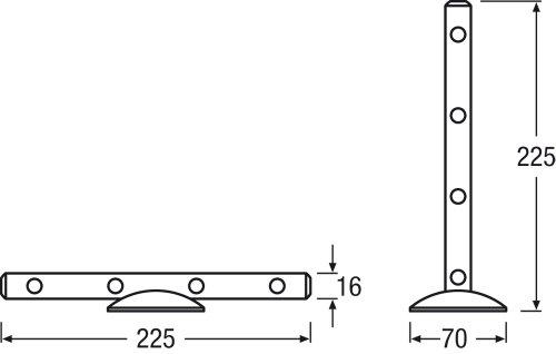 Osram LED-Lichtleiste, LEDstixx, silber, flexible Stablampe für Sideboards, etc., batteriebetrieben, mit Klebepat, 22 cm - Länge, Gehäuse aus Aluminium - 3