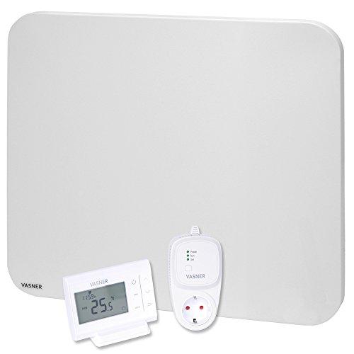 VASNER Citara M-Plus Infrarot-Heizung 450 Watt Metall, weiß, runde Ecken mit VASNER Funk-Thermostat Set VFT35 - Wandmontage, Deckenmontage, Flächenheizung, Elektroheizung Steckdosenthermostat, Schaltsteckdose, Raumthermostat
