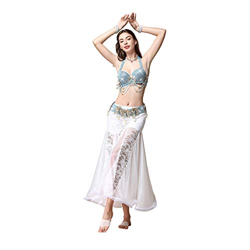 Tanz Illusion Kostüm - Tanzrock, Weiblicher Bauchtanz Tanz Kostüm Kostüm Anzug Erwachsener (Color : Lake Blue, Size : S)