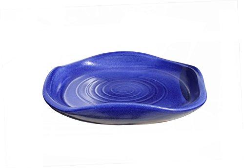 Hentschke Keramik Vogeltränke Vogelbad frostsicher formschön Ø 30 x 6 cm, Effekt blau, 100% wasserdicht, 465.030.64 - Made in Germany