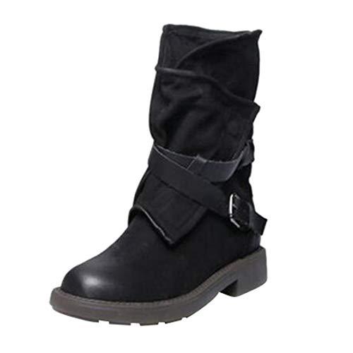 Botas Cortas para Mujer,Moda Medio Militar Botas Mujer Hebilla Cuero Artificial Patchwork Zapatos