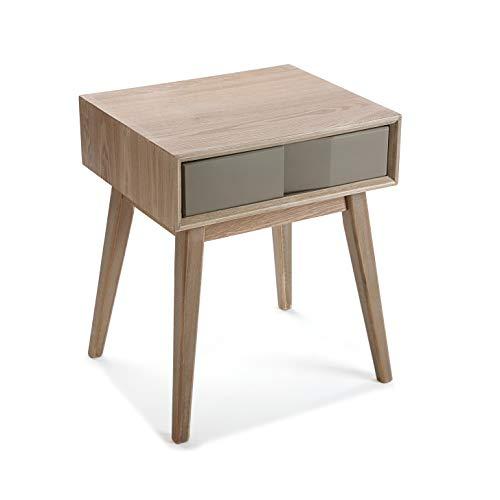 Versa 21000016 Table de Chevet Arvika 1 tiroir, Bois, Gris et Marron, 56 x 40 x 48 cm