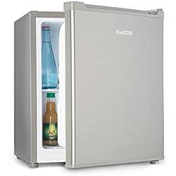 Klarstein Snoopy Eco - Mini-réfrigérateur, Peu encombrant, 46 litres, Congélateur de 4 litres, Clayettes réglables, Réfrigérant : R600a, Parfait pour les petits ménages, Gris