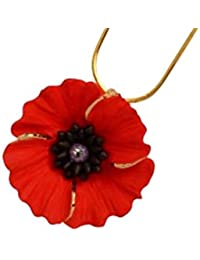 Lest We Forget Peace Poppy 18Ct Gold Plated Stud Earrings Set With Swarovski Crystal jtTGsV