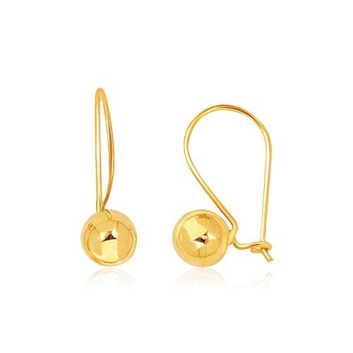 14K Gelb Gold glänzend Ball Drop - Gold Ohrringe Ball Drop