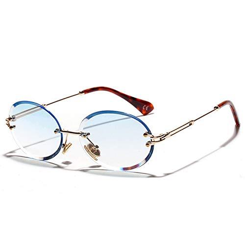 CJYTYJ Weinlese-Frauen-randlose Sonnenbrille-ovale weibliche Sonnenbrille Uv400 Eyewear Shades