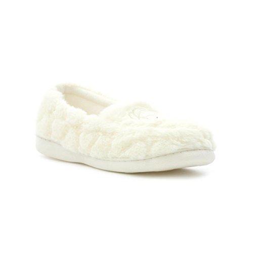 Slipper The Company - Mocassin Crème Pantoufles D'Ours Blanc du Duveteux des Femmes