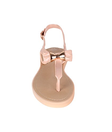 KRISP® Femmes Sandales Plates Vernis Uni Nœud Clous Doré Beige
